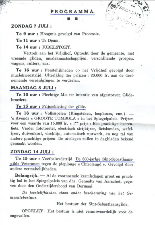 porgramma jubelfeest Dormaal 1948